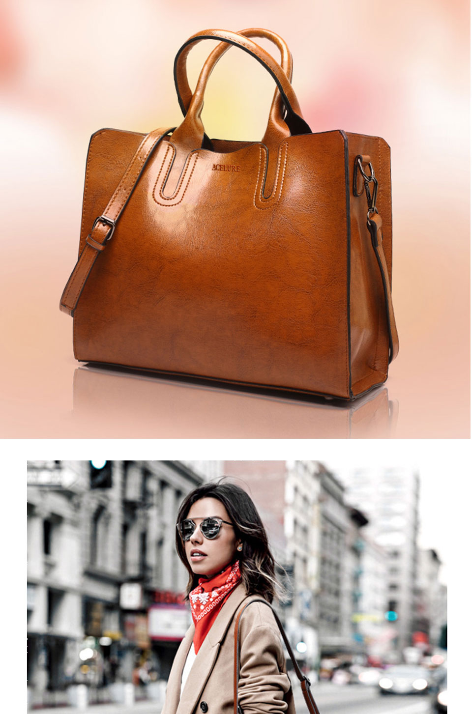 ACELURE Leather Handbags Big Women Bag High Quality Casual Female Bags Trunk Tote Spanish Brand Shoulder Bag Ladies Large Bolsos 7