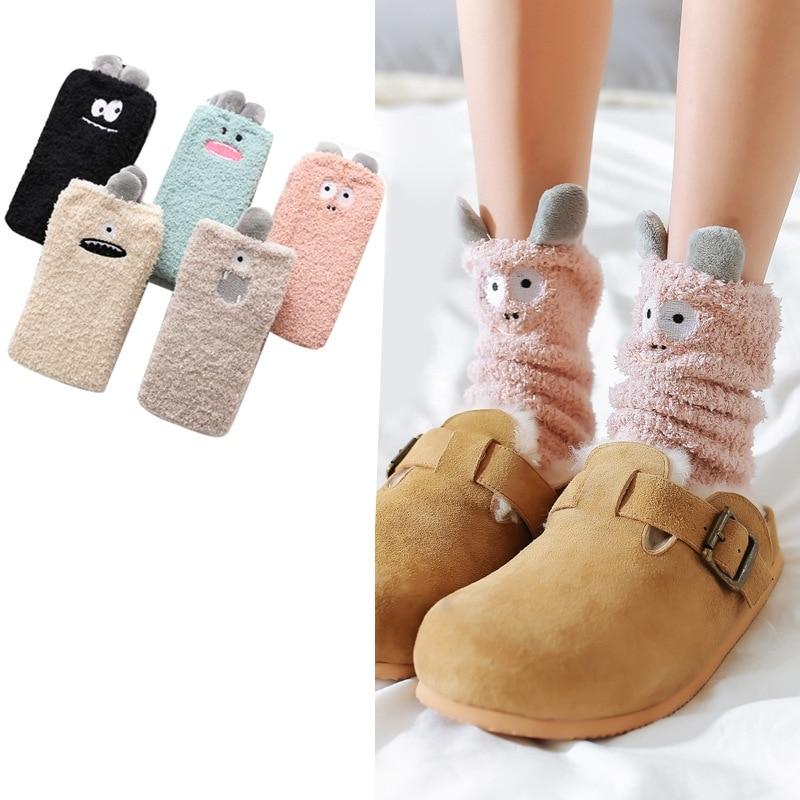 Women   Socks   Winter Long Thick   Socks   Girls Soft Solid Color Cute Cartoon Floor   Socks   Women Fashion Winter Warm   Socks