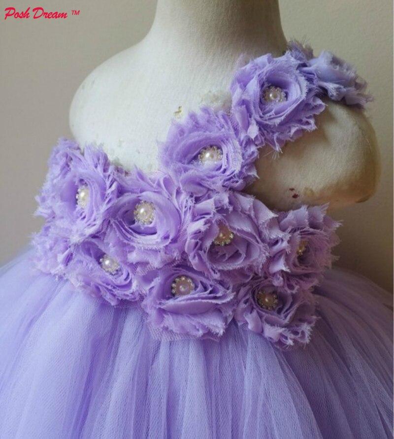 POSH DREAM Lavender Flower Girl Wedding Party Tutu Dress Shabby Rhinestone Flower Baby Birthday Outfit Vintage Girl Dress D