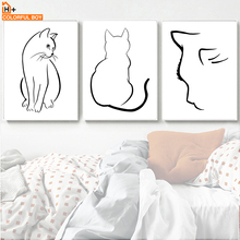 Black And White Cat Line Drawing Wall Art Canvas Painting Nordic Posters And Prints Animals Wall Pictures For Living Room Decor black white zebra quote landscape wall art canvas painting nordic posters and prints animals wall pictures for living room decor