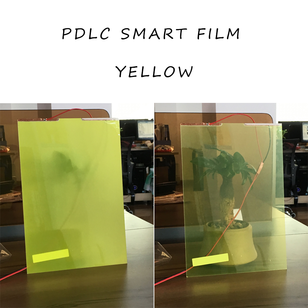 29CM *21CM Smart Pdlc film for rear projection screen film Yellow Color Self-adhesive Hot Sale electric self adhesive pdlc film smart glass window door tint smart film 12x6