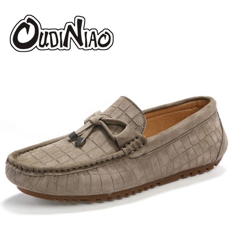 OUDINIAO Mens Shoes Casual Luxury Shoes Men Moccasins Cow Suede Casual Men Shoes Crocodile Driving Slip On Loafers Men new men s octopus leather penny loafers crocodile slip on driving shoes mens casual shoes moccasins business boat shoes branded