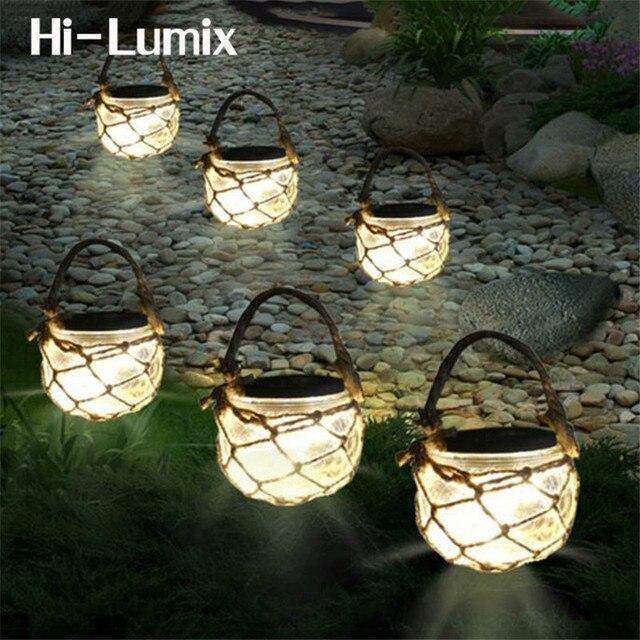 Hi Lumix Solar Led Light Mason Gl Jar Waterproof Hanging With Rope Landscape Decoration