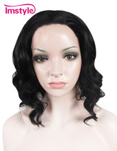 Black Wig hair with lace Imstyle Synthetic Wigs for African American Women high temperature fiber bob style free shipping