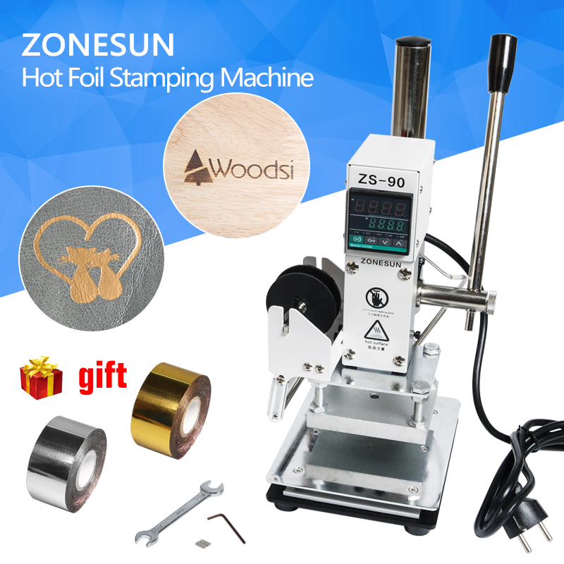 ZONESUN 3 size Hot Foil Stamping Machine Manual Bronzing Machine for PVC Card leather and paper stamping machine a4 size manual flat paper press machine for photo books invoices checks booklets nipping machine