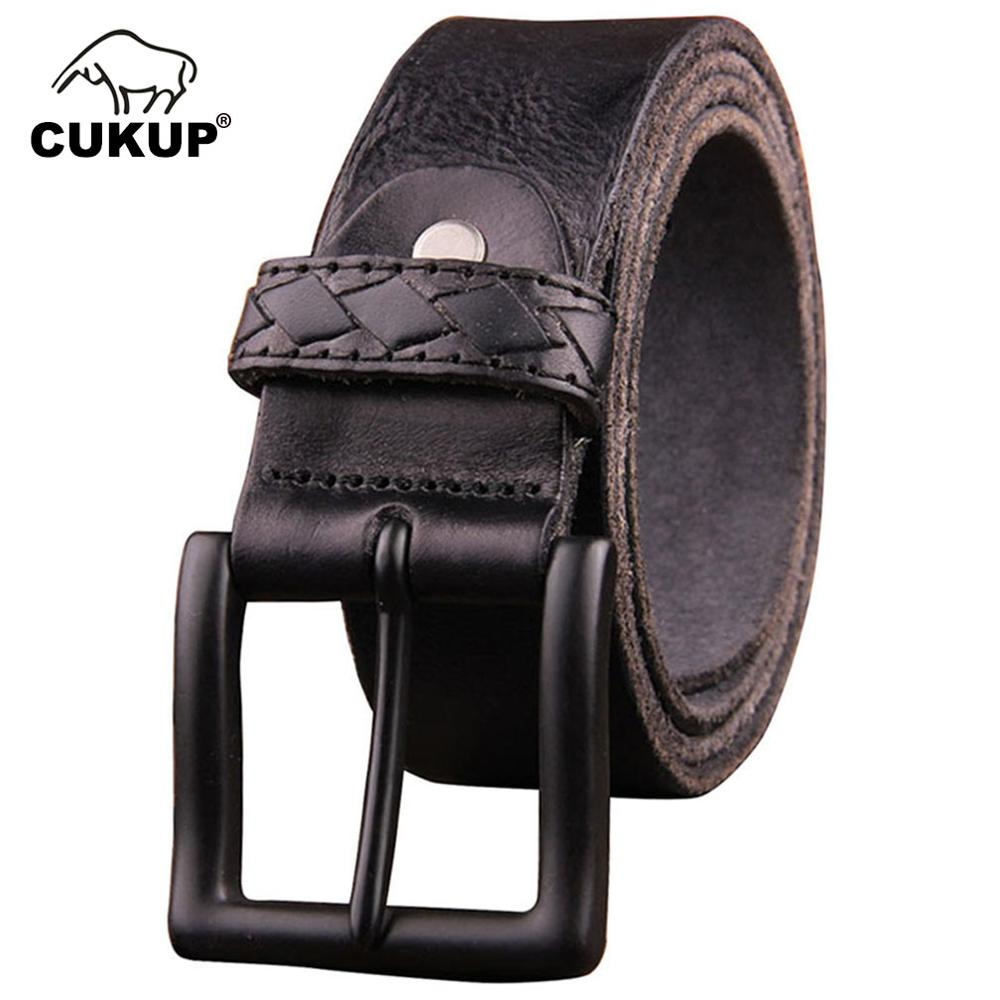 CUKUP Top Quality 100% Cow Leather Belts Male Anti-Scratch Alloy Pin Buckle Metal Packed In A Box Belt For Men Adjustable NCK173