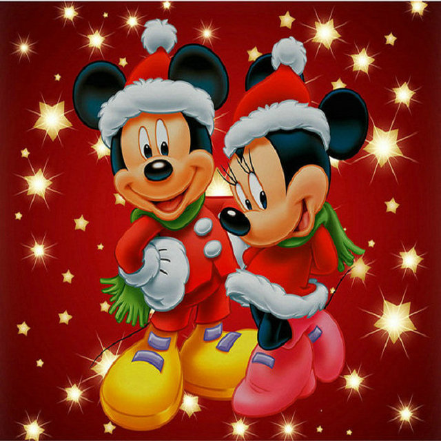 christmas mickey mouse couple full square diamond embroidery diy 5d diamond painting cross stitch rhinestones mosaic - Christmas Mickey Mouse