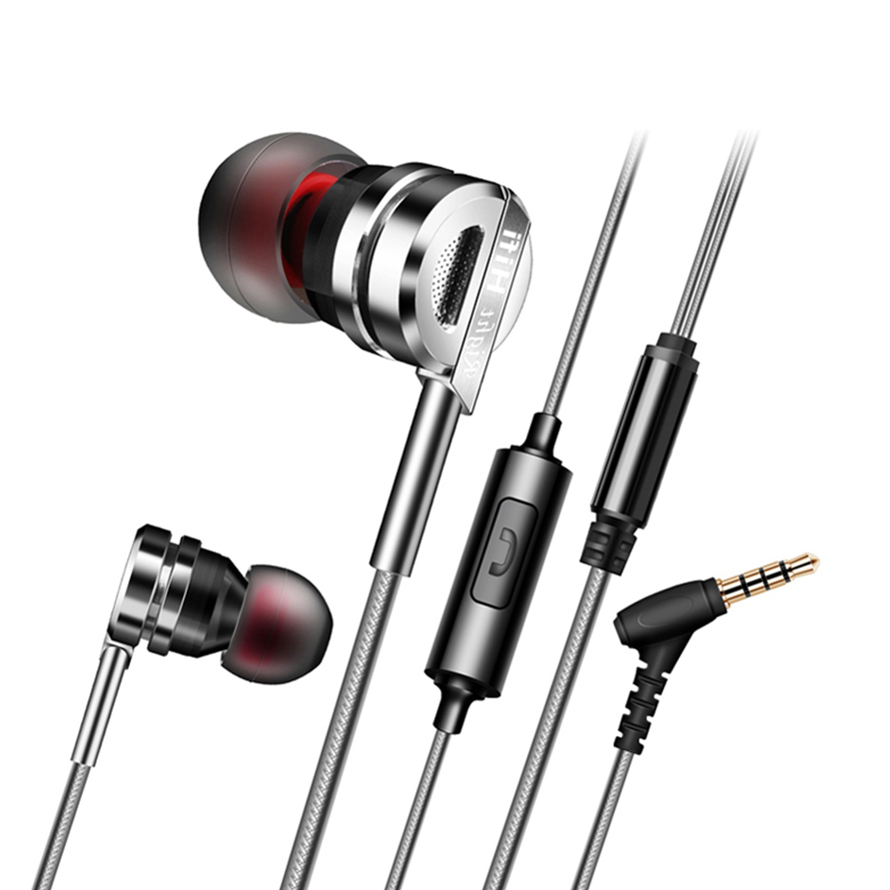 PTM D05 Metal HiFi Earphone Headphones Stereo Bass Headset With Microphone Earphones Noise Cancelling Earbuds for Iphone Xiaomi noise cancelling earphone stereo earbuds reflective fiber cloth line headset music headphones for iphone mobile phone mp3 mp4 page 6