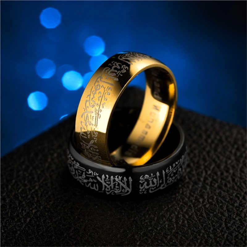 Muslim Allah Rings for Women Men Islam Arabic Black Gold Stainless Steel Rings Muhammad Quran Middle Eastern Jewellery