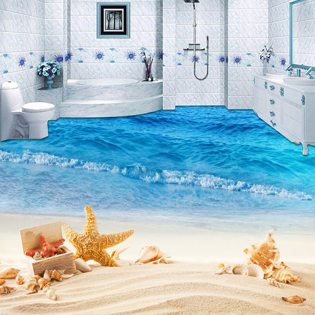 Custom Mural Wallpaper 3D Beach Sea Wave Photo Painting Sticker Bathroom Kids Bedroom PVC Waterproof Wear