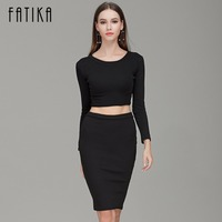 Colorful Apparel New Autumn Winter 2 Piece Set Women Long Sleeve Party Dresses Sexy Bandage Dress