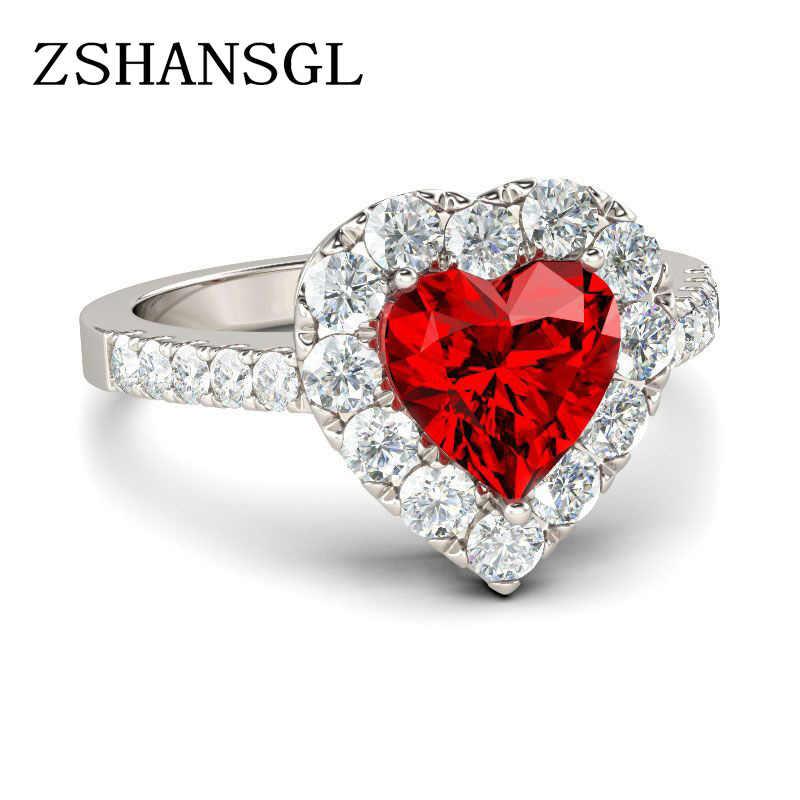 ใหม่สีแดง Zircon แหวนเงิน 925 หัวใจรักโรแมนติกแหวนผู้หญิงเครื่องประดับงานแต่งงาน bague