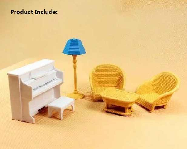 Happy family piano set with mini furniture miniature dollhouse Living room set mini furniture pretend toy gift