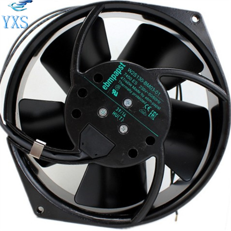 W2S130-BM03-01 AC 230V 47W/46W 50/60HZ 2 Wires 3050RPM 0.31A/0.27A Ball Bearing All Metal High Temperature Cooling Fan
