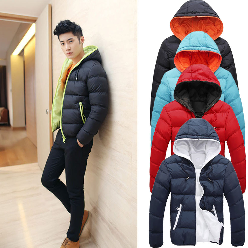 Cotton-Padded Winter 2017 new thick warm men's Casual Down Jacket Zipper Hooded Parka Coat big yards Young Jacket 5 color M-XXXL winter women down cotton coat long section thick warm cotton jacket solid color wild pockets zipper casual jacket loose parka