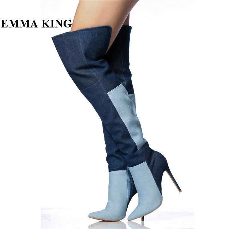 EMMA KING Hot Navy Blue Patchwork Cowboy Boots Women Pointed Toe Stiletto Runway Shoes Women Cut High Heels Thigh High Boots