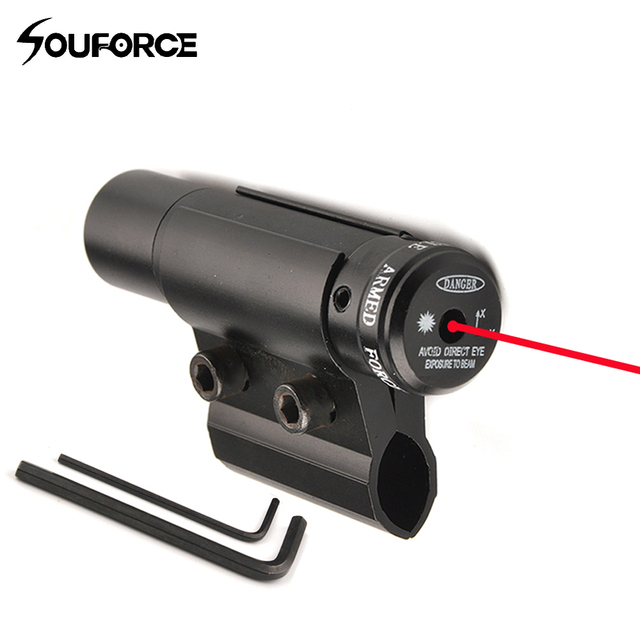 Red Laser Sight with Barrel Ring Scope Clamp Mount Holder for Flashlight Scope Hunting