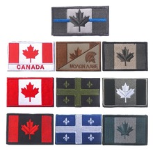 Embroidered Canada Flag Patch Army Hook & Loop Fasten Patch Tactical Military Patches National Emblem Canadian Maple Leaf Flag(China)
