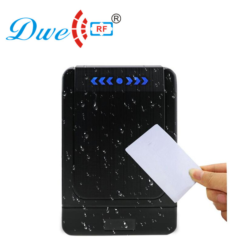 DWE CC RF access control door readers rf id 12V tag contactless rfid wiegand card reader 125khz with2 cards free dwe cc rf wiegand26 125khz rfid id card tag keyfob reader waterproof access control wg26