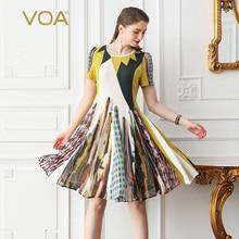 VOA Heavy Silk Party Dresses Women Midi Dress Plus Size 5XL Summer Harajuku Print Sweet Cute Boho Casual Basic vestido A518