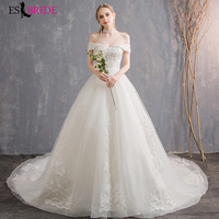 Fashion Boat neck Lace Wedding Dresses Long White Tulle Plus Size Wedding Dress Weding Gowns Sexy Backless Weeding Dress ES1813