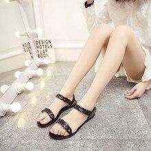 дешево!  2019 летние женские сандалии на плоской подошве желейные сандалии из ПВХ пластиковые туфли удобные