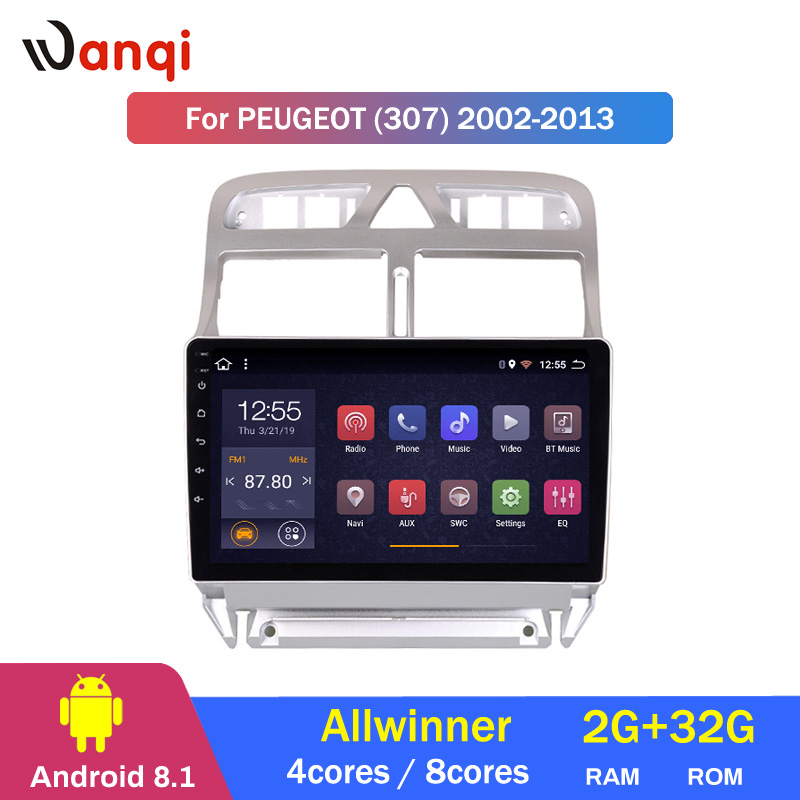 2G RAM 32G ROM Android 8.1 Car DVD Player GPS de Navegação Multimídia Para peugeot 307 Radio 2002- 2013