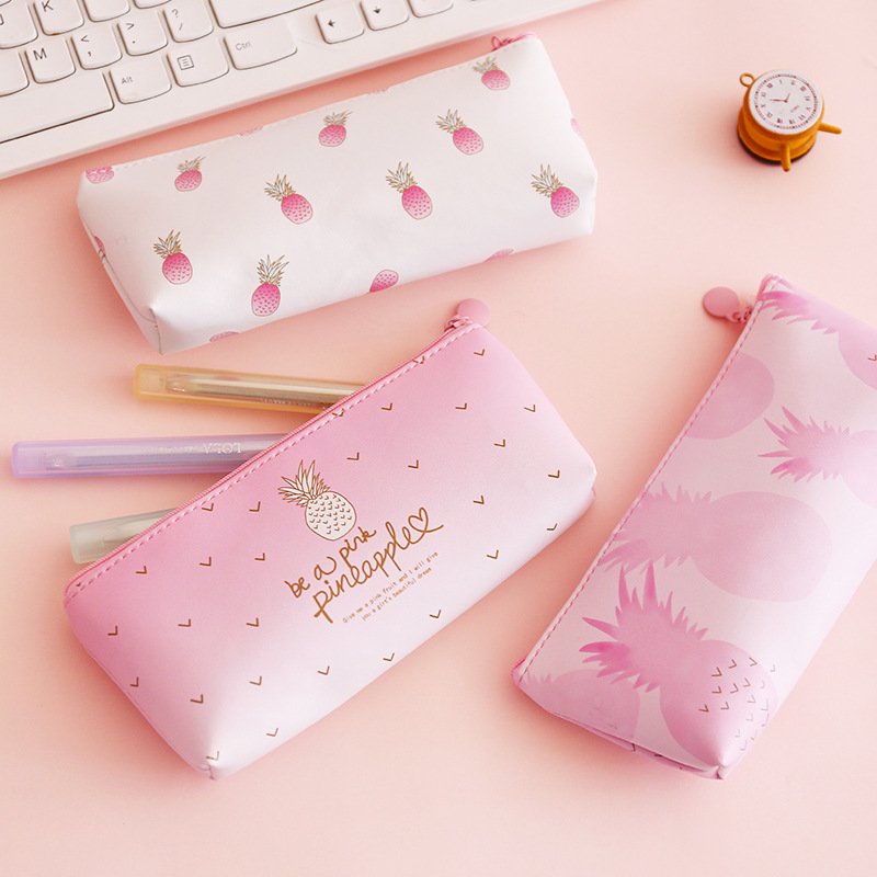 Novelty Pink Pineapple Pencil Bag For School Cute Strawberry PU Leather Storage Pouch Stationery Pencil Case Canetas