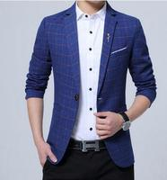 Spring Large Size Casual Suits Mens Korean Business Men S Lattice Small Suit Thin Slim Youth