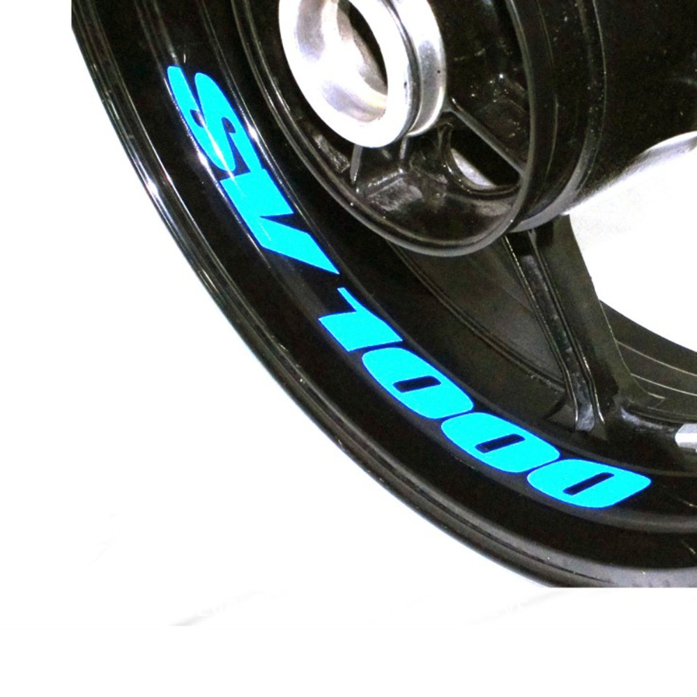 A Set Of 8pcs High Quality Motorcycle Wheel Sticker Decal Reflective Rim Bike Motorcycle Suitable For SUZUKI SV 1000 SV1000