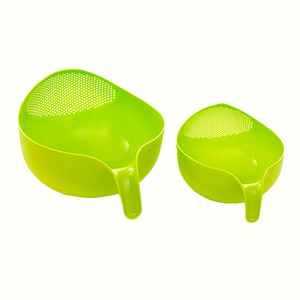 Image 5 - Cozinha tigela de arroz tigela de frutas de plástico grosso dreno cesta com alça de lavagem cesta para casa suprimentos cozinha alta qualidade