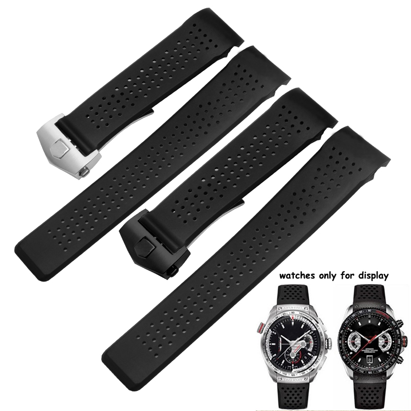 22mm 24mm Quality silicone watchband black rubber bracelet waterproof men's replacement strap fit TAG-in Watchbands from Watches