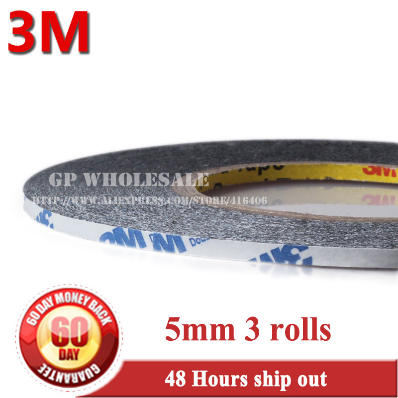 3 ROLLS (5mm Wide *50 Meters) 3M 9448 Black Adhesive Glue Tape Repair For Digitizer Touch Screen lens LCD 2 rolls 1 5mm 2mm 50m strong adhesive 3m black double sided glue sticker for samsung galaxy nokia touch screen lcd dispaly