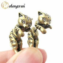 CHENGXUN Hypoallergenic Cute Animals 3D Cat Kitten Stud Earring Realistic Ear Jewelry AAA+Cubic Zirconia Eyes for Kids Gift(China)