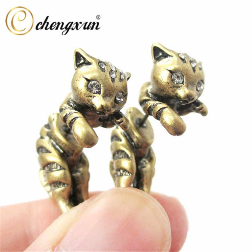 CHENGXUN hypoallergénique mignon animaux 3D chat chaton Stud boucle d'oreille réaliste oreille bijoux AAA + cubique zircone yeux pour enfants cadeau