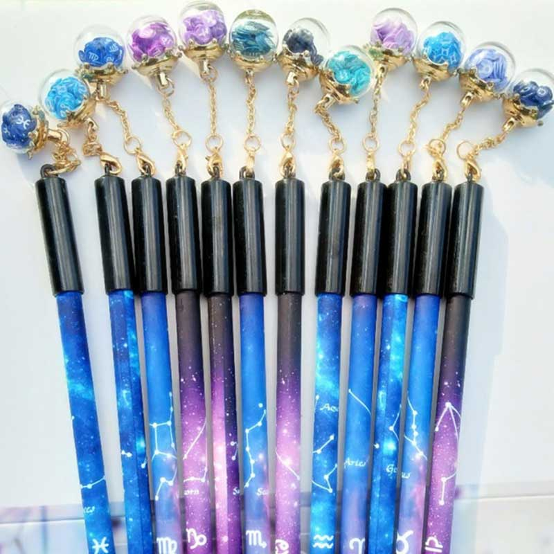 Kawaii Starry Sky Gel Pen 0.5mm 12 Constellation Zodiac Sign Horoscope Wishing Bottle Pens For Student Gifts School Stationery