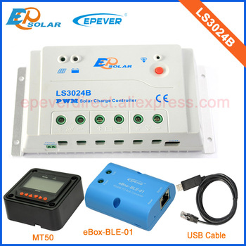 12V 24V PWM Solar panels regulator EPEVER EPsolar LS3024B 30A controller MT50 Meter and bluetooth function eBOX USB cable