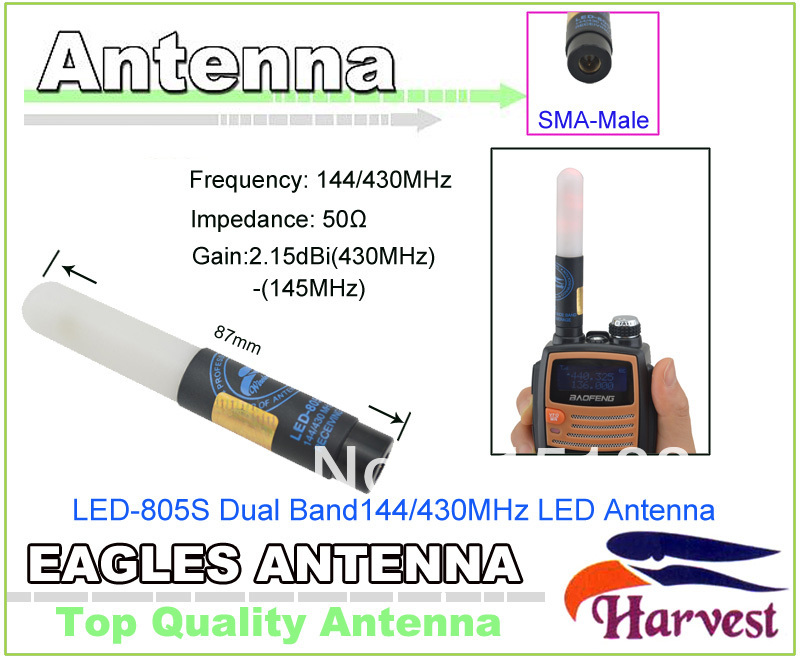 2014 New UV5R Antenna SMA-Male Connector Original Harvest LED-805S Dual Band 144/430MHz LED Antenna for Baofeng UV-5R Radio2014 New UV5R Antenna SMA-Male Connector Original Harvest LED-805S Dual Band 144/430MHz LED Antenna for Baofeng UV-5R Radio