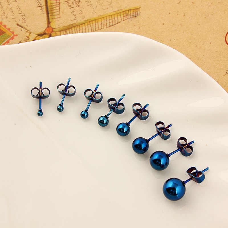 스테인레스 스틸 고품질 멀티 컬러 연마 라운드 볼 스터드 귀걸이 안전 방지 알레르기 핀 크기 2-8mm Femmal Brin