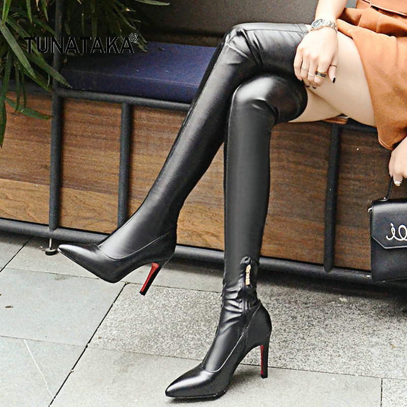 Genuine Leather Thin High Heel Zipper Woman Over The Knee Boots Fashion Pointed Toe Dress Thigh Boots Black