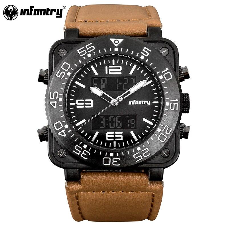 INFANTRY Digital Watch Men Mlitary Stopwatch LED Quartz Square Big Dial Leather Luxury Men Watches 2020 Sport Watches for Men|quartz blue|quartz pocket watch|quartz element - title=
