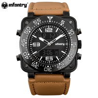 INFANTRY Military Watch Men LED Digital Quartz Mens Watches Top Brand Luxury Sport Square Big Face Leather Relogio Masculino