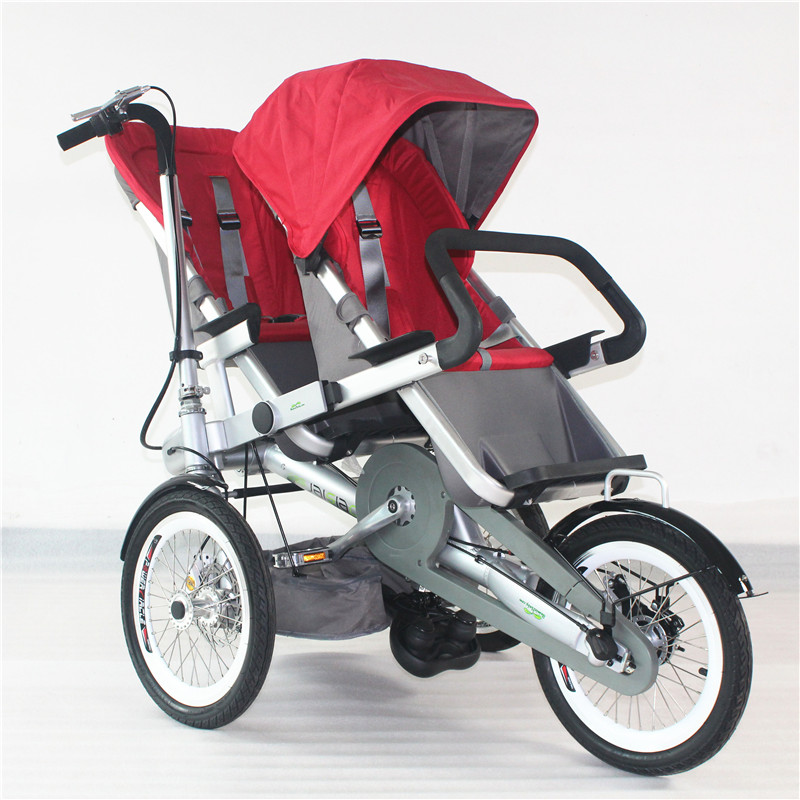 Baby Twins Folding Three Wheels Bicycle Pram Two Kids Trolley Child Bike Carriage Kids Not Taga Bicycle Stroller Drop Shipping