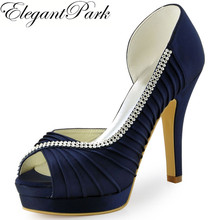 elegantpark Navy Blue wedding Shoes High Heel Platform. US  50.99   Pair Free  Shipping 398ba9ad551a