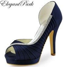 Women wedding Shoes Navy Blue Peep Toe High Heel Platform Rhinestone Satin Bride Bridesmaid Prom Dress Bridal Pumps Mint EP11064