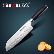 "HUIWILL marca 7 ""Japonés AUS 8 cuchillo Santoku Cuchillo Cocinero cuchillos de cocina de acero inoxidable utensilios de cocina"