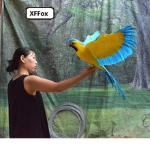 huge real life wings parrot model foam&feather big simulation blue&yellow parrot bird gift about 60x100cm xf0273 big wings parrot toy plastic