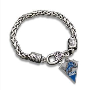 7755b316 US $2.91 |1pcs Europe unsex couple Jewelry gift NFL Detroit Lions team logo  sports Fans alloy drip crude Men's Retro Bracelet-in Charm Bracelets from  ...