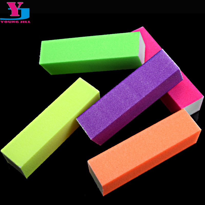 5pcs/lot Hot Nail Buffer Block Neon Color Buffing Sanding Buffer Block Files Manicure Nail Art Tips Women Beauty Manicure Tools 10pcs lot trimmer buffer nail art tools grey nail files sanding 100 180 curve banana for nail art tips manicure free shipping