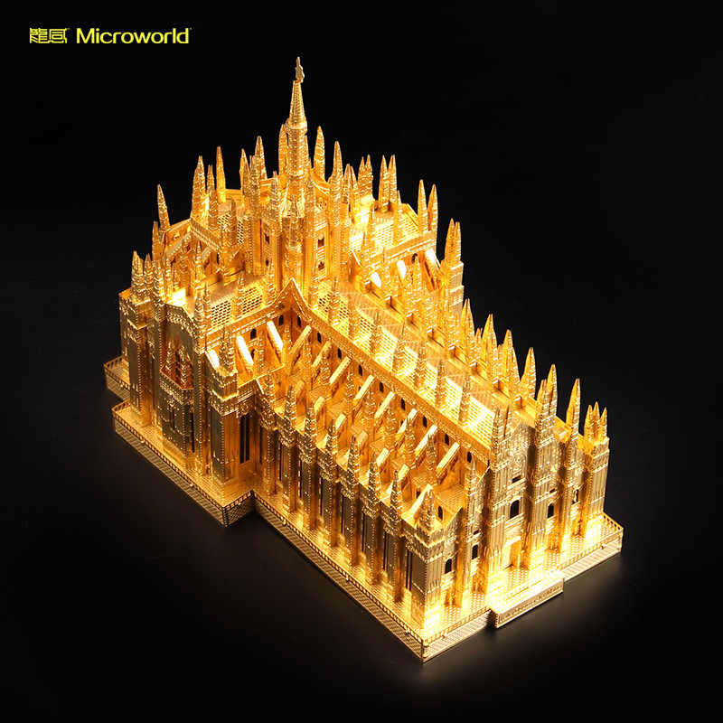 2018 جديد المجهري 3d نانو لغز churchof دومو المعادن نموذج diy الليزر قطع بانوراما لغز بناء نموذج اللعب للبالغين هدية
